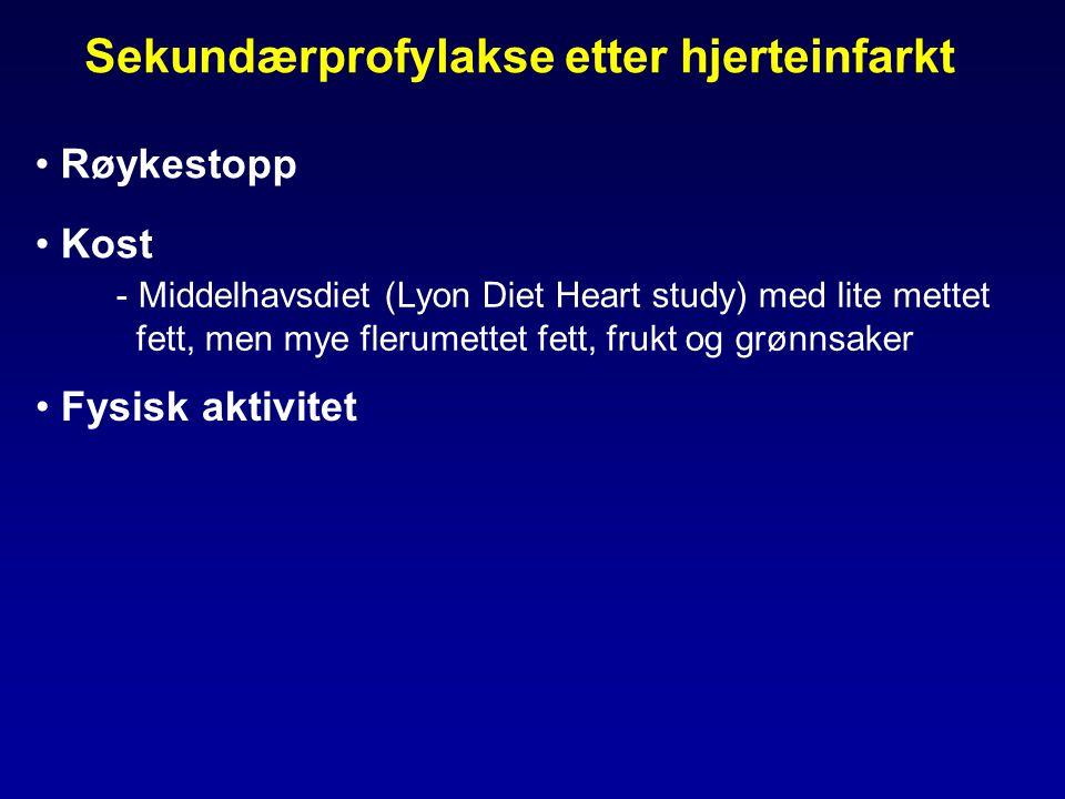 Sekundærprofylakse etter hjerteinfarkt • Røykestopp • Kost - Middelhavsdiet (Lyon Diet Heart study) med lite mettet fett, men mye flerumettet fett, frukt og grønnsaker • Fysisk aktivitet