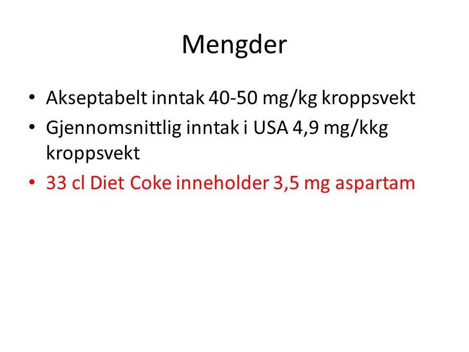 Mengder • Akseptabelt inntak 40-50 mg/kg kroppsvekt • Gjennomsnittlig inntak i USA 4,9 mg/kkg kroppsvekt • 33 cl Diet Coke inneholder 3,5 mg aspartam