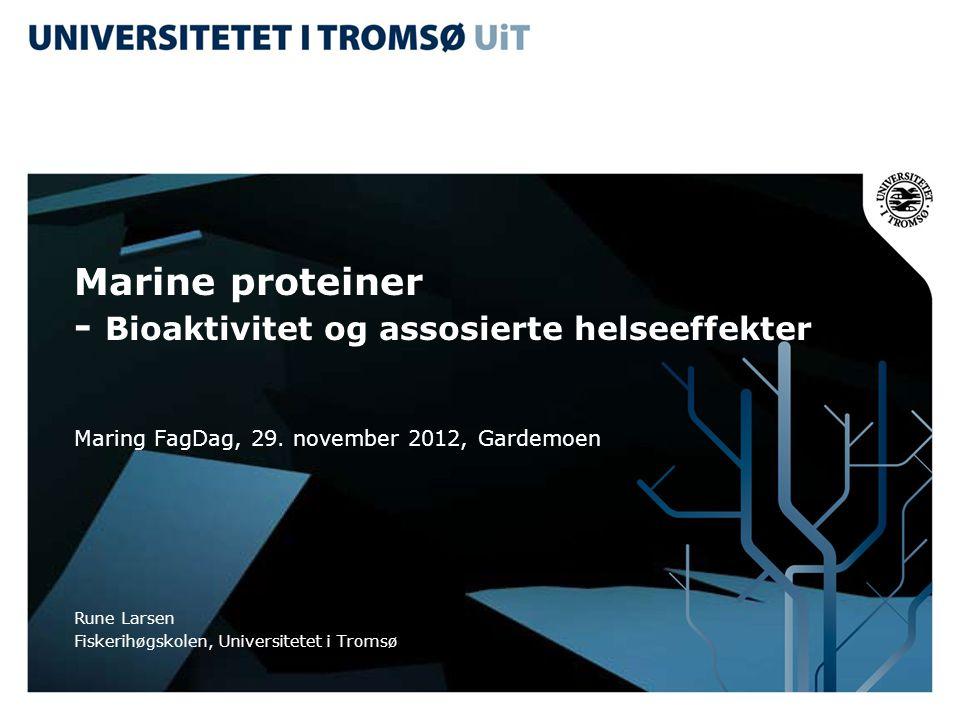 Marine proteiner - Bioaktivitet og assosierte helseeffekter Maring FagDag, 29. november 2012, Gardemoen Rune Larsen Fiskerihøgskolen, Universitetet i