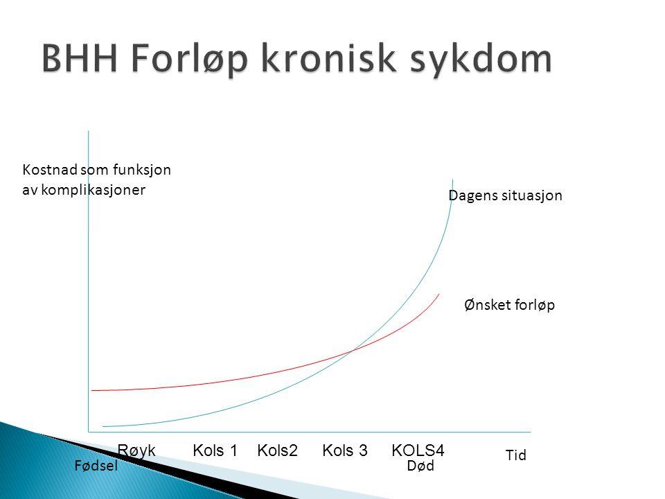 Kostnad som funksjon av komplikasjoner Tid FødselDød Dagens situasjon Ønsket forløp Røyk Kols 1 Kols2 Kols 3 KOLS4