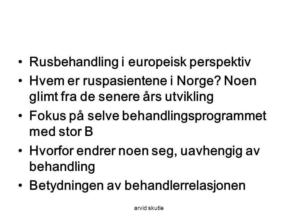 arvid skutle •Rusbehandling i europeisk perspektiv •Hvem er ruspasientene i Norge.