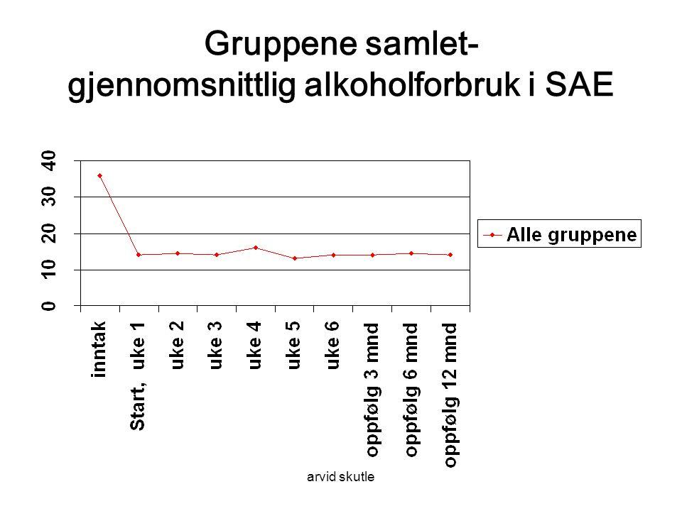 arvid skutle Gruppene samlet- gjennomsnittlig alkoholforbruk i SAE