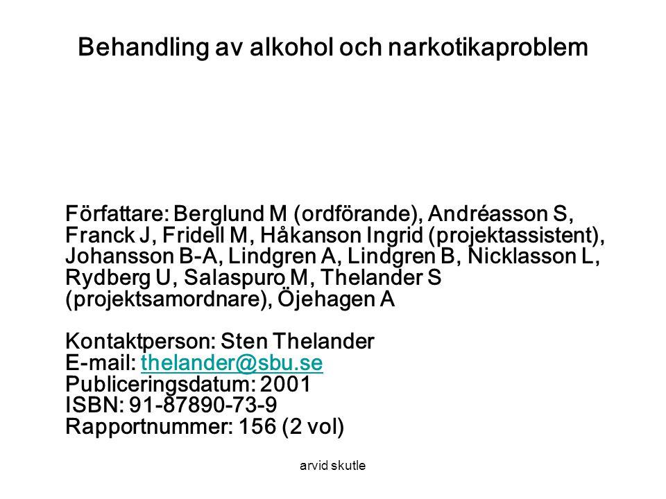 Behandling av alkohol och narkotikaproblem Författare: Berglund M (ordförande), Andréasson S, Franck J, Fridell M, Håkanson Ingrid (projektassistent), Johansson B-A, Lindgren A, Lindgren B, Nicklasson L, Rydberg U, Salaspuro M, Thelander S (projektsamordnare), Öjehagen A Kontaktperson: Sten Thelander E-mail: thelander@sbu.se Publiceringsdatum: 2001 ISBN: 91-87890-73-9 Rapportnummer: 156 (2 vol)thelander@sbu.se