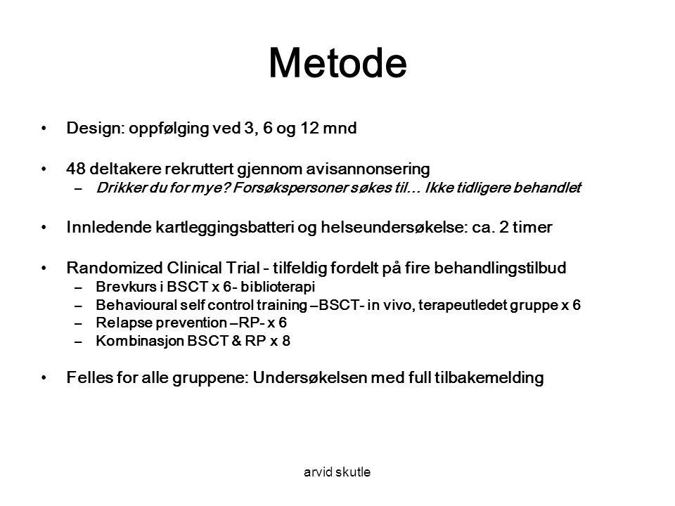 arvid skutle Metode •Design: oppfølging ved 3, 6 og 12 mnd •48 deltakere rekruttert gjennom avisannonsering –Drikker du for mye.