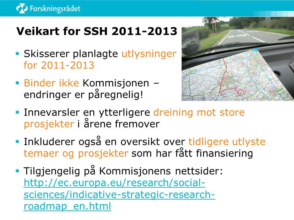 Veikart for SSH 2011-2013  Skisserer planlagte utlysninger for 2011-2013  Binder ikke Kommisjonen – endringer er påregnelig.