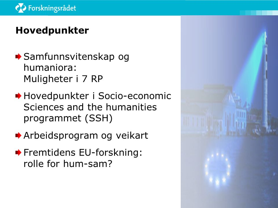 FP-7: Vedtatt budsjett for de enkelte programmer (Millioner €) I - Cooperation 32.413 1) Health 6.100 2) Food, Agriculture and Biotechnology 1.935 3) Information and Communication Technologies 9.050 4) Nanosciences, Nanotechnologies, Materials and new Production Technologies3.475 5) Energy 2.350 6) Environment (including Climate Change) 1.890 7) Transport (including Aeronautics) 4.160 8) Socio-economic Sciences and the Humanities (SSH) 623 9) Security 1.400 10) Space 1.430 II - Ideas 7.510 III - People 4.750 IV - Capacities 4.097 Research Infrastructures 1.715 Research for the benefit of SMEs 1.336 Regions of Knowledge 126 Research Potential 340 Science in Society (SiS) 330 Coherent development of research policies 70 Activities of International Co-operation 180 Non-nuclear actions of the Joint Research Centre 1.751 TOTAL 50.521