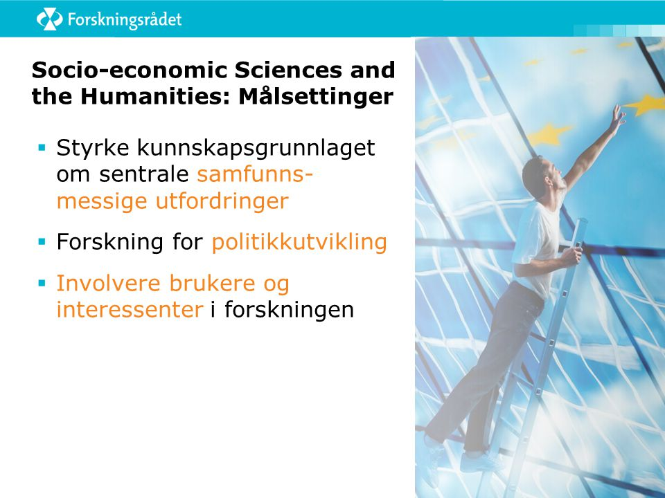 SSH: Tematisk inndeling Fem tematiske aktiviteter (8.1 – 8.5): 1.Vekst, sysselsetting, konkurranse i kunnskapssamfunnet 2.Kombinerte perspektiver: økonomiske, sosiale og miljø i Europa 3.Hovedtrender: Demografi, ungdom, kultur, flerkulturelle samfunn, kriminalitet, migrasjon 4.Europa i verden: Regioner, samarbeid, fred – konflikt, menneskerettigheter 5.Borgeren i EU: Demokrati, styring, mangfold, verdier, historie, identitet To horisontale aktiviteter (8.6 og 8.7): 6.Nye sosioøkonomiske indikatorer: Knyttet til statistikk, policy, kunnskap, evaluering av forskningsprogrammer 7.Foresight knyttet til tema om: ERA, forskningspolitikk, universitetene, nye forskningsområder, m.m.