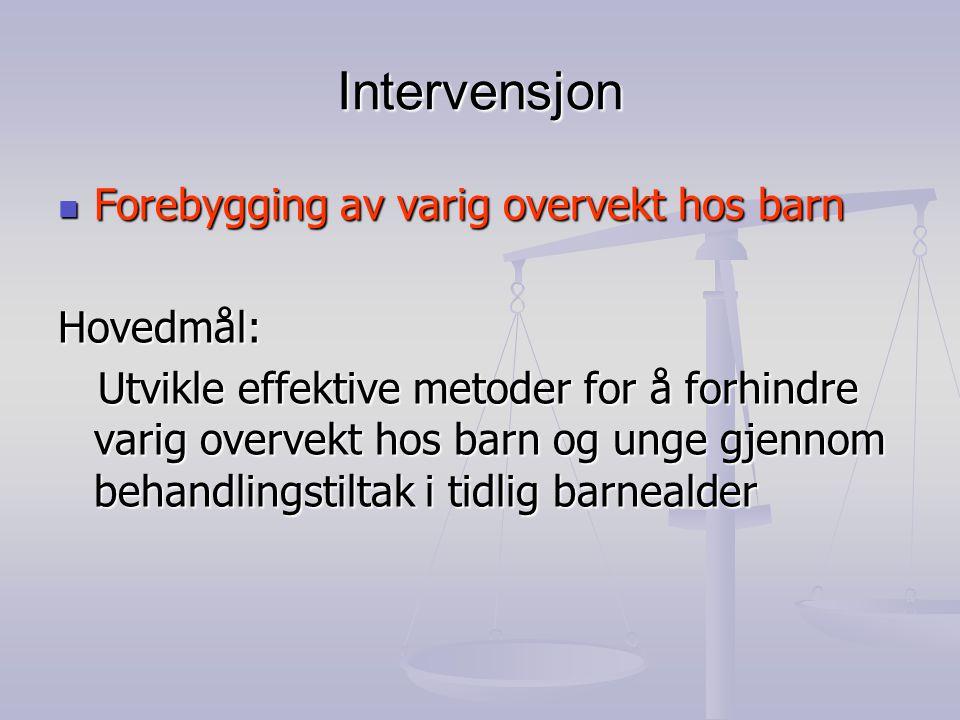 Intervensjon  Forebygging av varig overvekt hos barn Hovedmål: Utvikle effektive metoder for å forhindre varig overvekt hos barn og unge gjennom beha