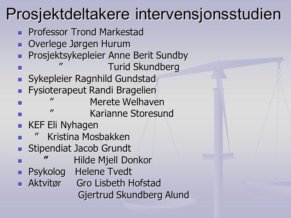 """Prosjektdeltakere intervensjonsstudien  Professor Trond Markestad  Overlege Jørgen Hurum  Prosjektsykepleier Anne Berit Sundby  """" Turid Skundberg"""