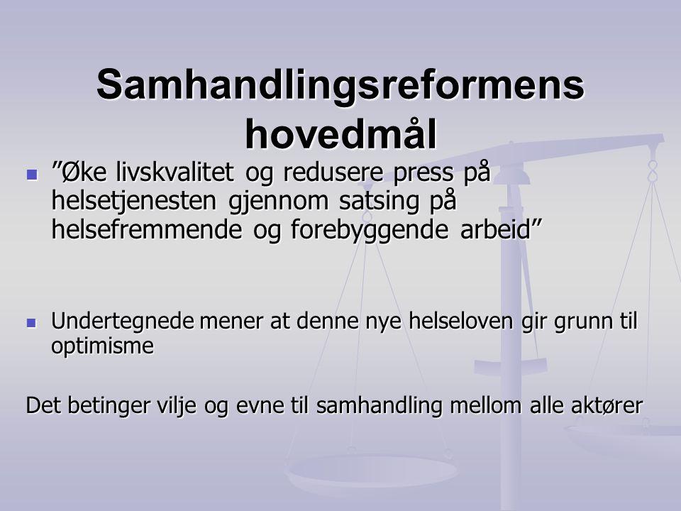 """Samhandlingsreformens hovedmål  """"Øke livskvalitet og redusere press på helsetjenesten gjennom satsing på helsefremmende og forebyggende arbeid""""  Und"""