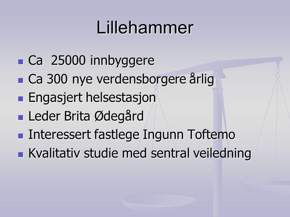 Lillehammer  Ca 25000 innbyggere  Ca 300 nye verdensborgere årlig  Engasjert helsestasjon  Leder Brita Ødegård  Interessert fastlege Ingunn Tofte