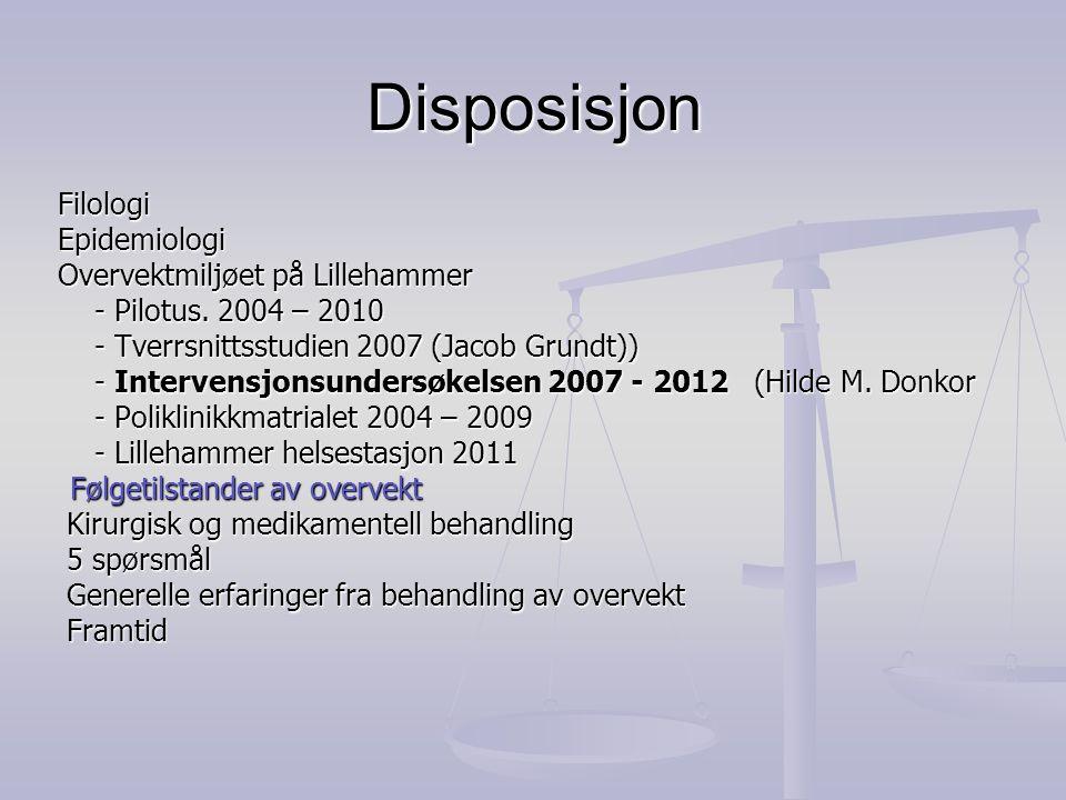 Disposisjon Filologi Filologi Epidemiologi Epidemiologi Overvektmiljøet på Lillehammer Overvektmiljøet på Lillehammer - Pilotus. 2004 – 2010 - Pilotus