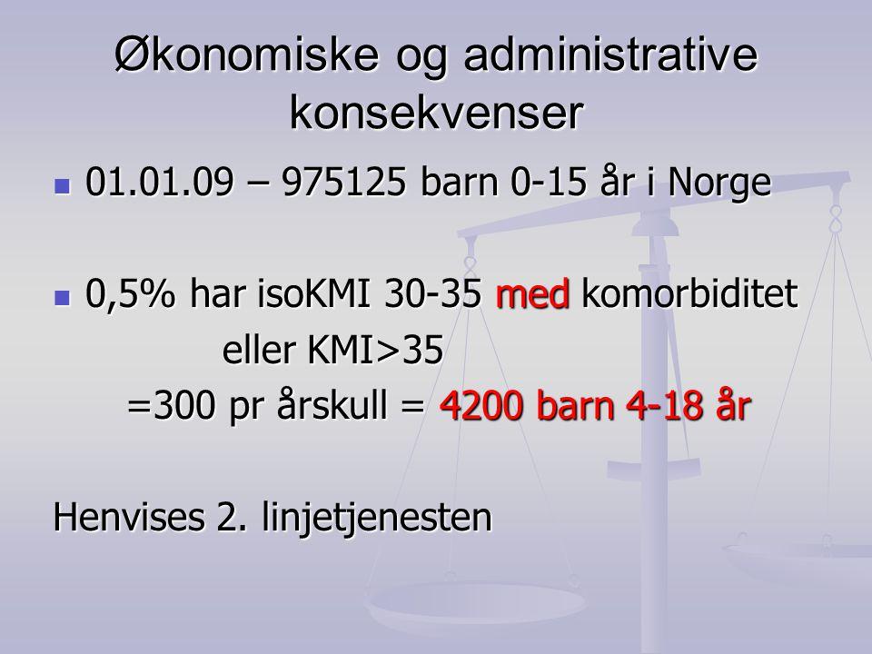 Økonomiske og administrative konsekvenser  01.01.09 – 975125 barn 0-15 år i Norge  0,5% har isoKMI 30-35 med komorbiditet eller KMI>35 eller KMI>35