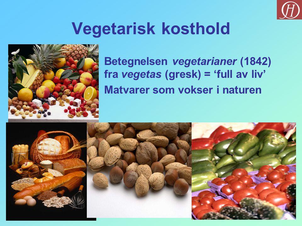 Typer av vegetarianere Vegan Laktovegetarisk Laktoovovegetarisk Vegetarisk med fisk