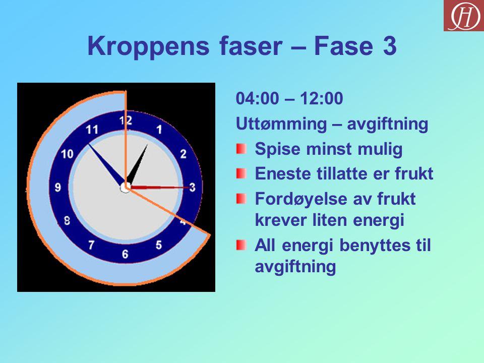 Kroppens faser – Fase 3 04:00 – 12:00 Uttømming – avgiftning Spise minst mulig Eneste tillatte er frukt Fordøyelse av frukt krever liten energi All energi benyttes til avgiftning
