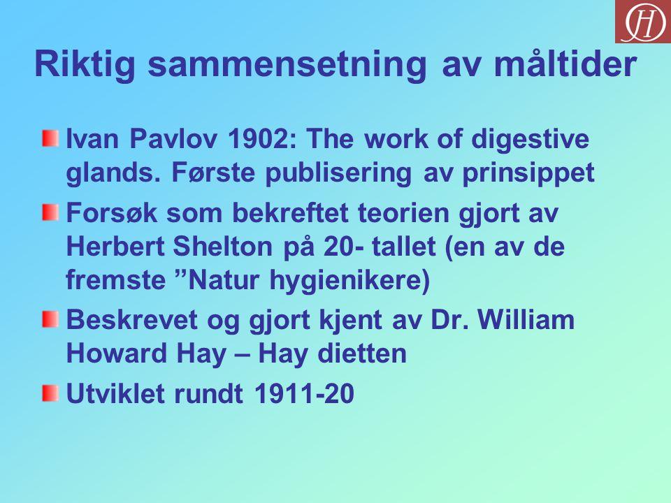 Riktig sammensetning av måltider Ivan Pavlov 1902: The work of digestive glands. Første publisering av prinsippet Forsøk som bekreftet teorien gjort a