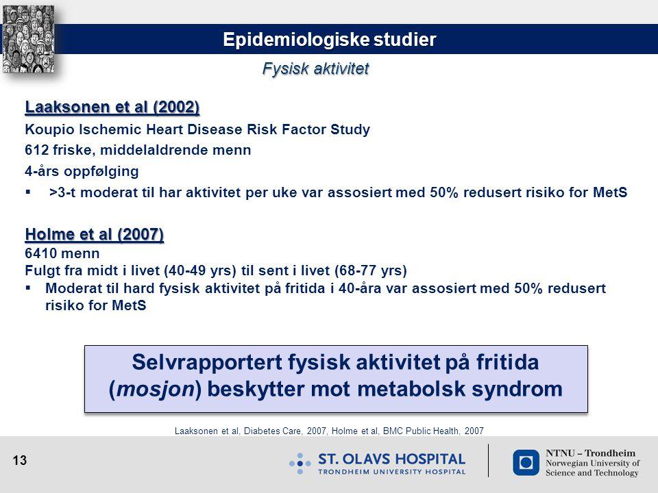 13 Epidemiologiske studier Laaksonen et al (2002) Koupio Ischemic Heart Disease Risk Factor Study 612 friske, middelaldrende menn 4-års oppfølging  >