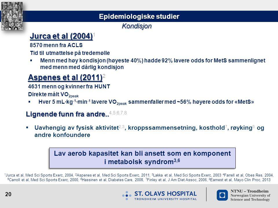 20 Kondisjon Jurca et al (2004) Jurca et al (2004) 1 8570 menn fra ACLS Tid til utmattelse på tredemølle  Menn med høy kondisjon (høyeste 40%) hadde