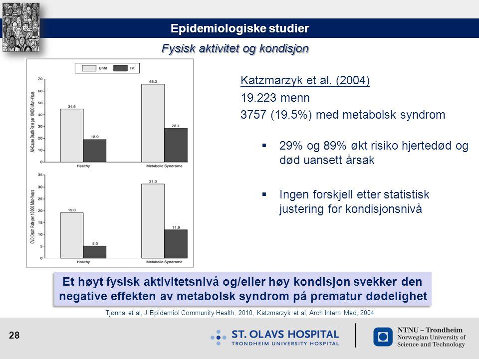 28 Katzmarzyk et al. (2004) 19.223 menn 3757 (19.5%) med metabolsk syndrom  29% og 89% økt risiko hjertedød og død uansett årsak  Ingen forskjell et