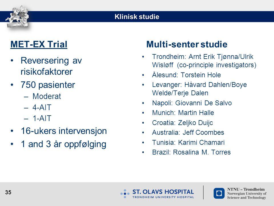 35 MET-EX Trial •Reversering av risikofaktorer •750 pasienter –Moderat –4-AIT –1-AIT •16-ukers intervensjon •1 and 3 år oppfølging Multi-senter studie