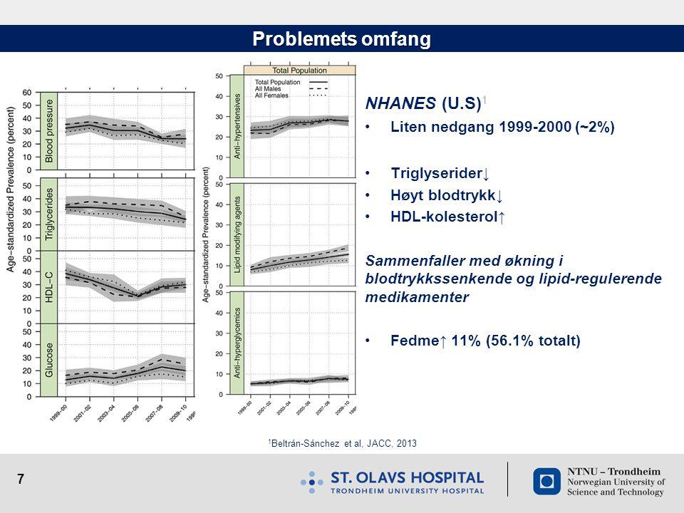 7 Problemets omfang NHANES (U.S) 1 •Liten nedgang 1999-2000 (~2%) •Triglyserider↓ •Høyt blodtrykk↓ •HDL-kolesterol↑ Sammenfaller med økning i blodtryk