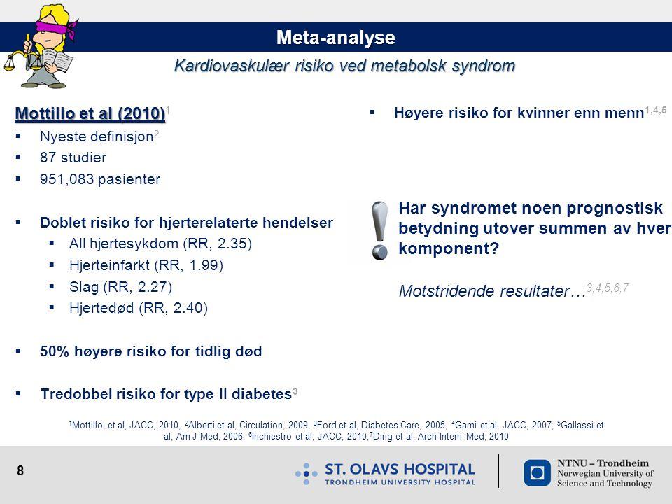 8 Meta-analyse Kardiovaskulær risiko ved metabolsk syndrom  Høyere risiko for kvinner enn menn 1,4,5 Har syndromet noen prognostisk betydning utover