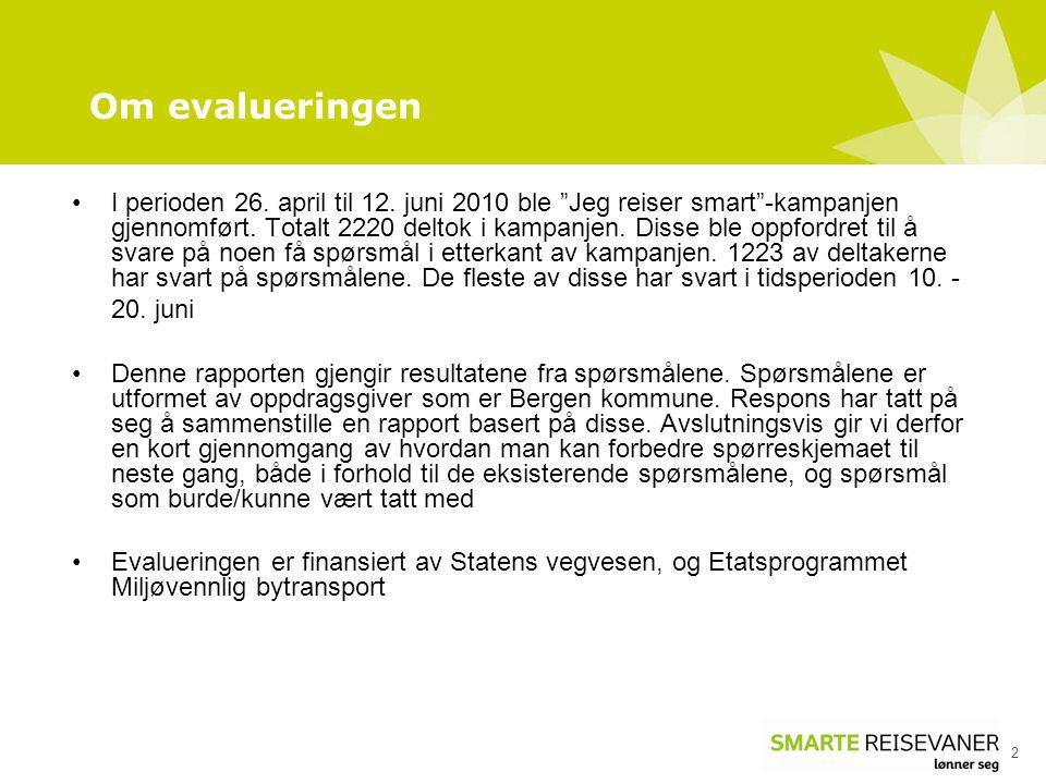 """Om evalueringen 2 •I perioden 26. april til 12. juni 2010 ble """"Jeg reiser smart""""-kampanjen gjennomført. Totalt 2220 deltok i kampanjen. Disse ble oppf"""