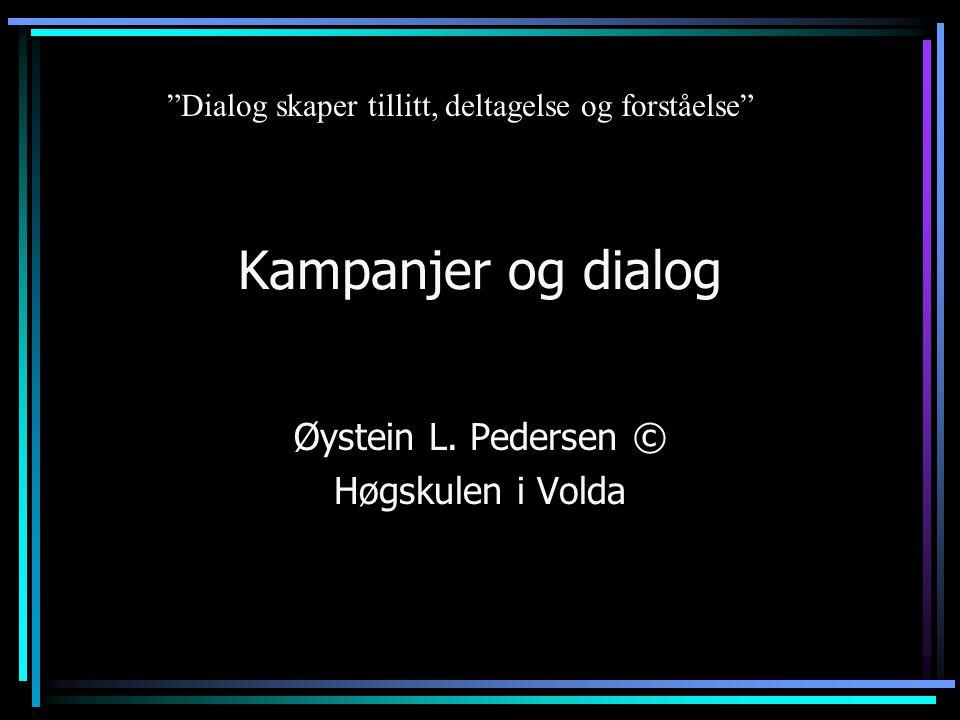 Bruk av interaktive medier •dialogisk •bygger ned den psykologiske avstanden (Lieberman 2001) •konstruktør eller respondør.