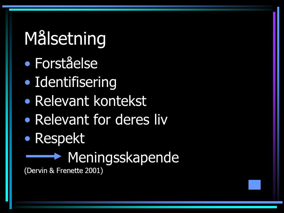 Målsetning •Forståelse •Identifisering •Relevant kontekst •Relevant for deres liv •Respekt Meningsskapende (Dervin & Frenette 2001)