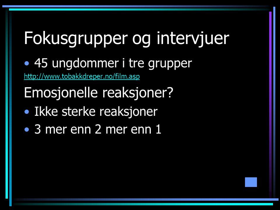 Fokusgrupper og intervjuer •45 ungdommer i tre grupper http://www.tobakkdreper.no/film.asp Emosjonelle reaksjoner.