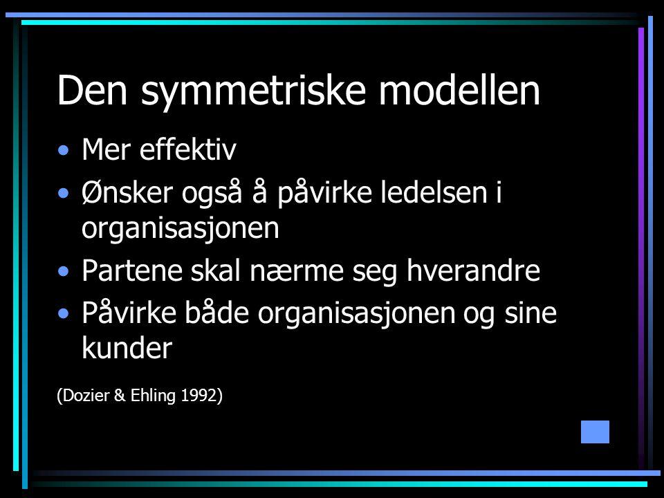 Den symmetriske modellen •Mer effektiv •Ønsker også å påvirke ledelsen i organisasjonen •Partene skal nærme seg hverandre •Påvirke både organisasjonen og sine kunder (Dozier & Ehling 1992)