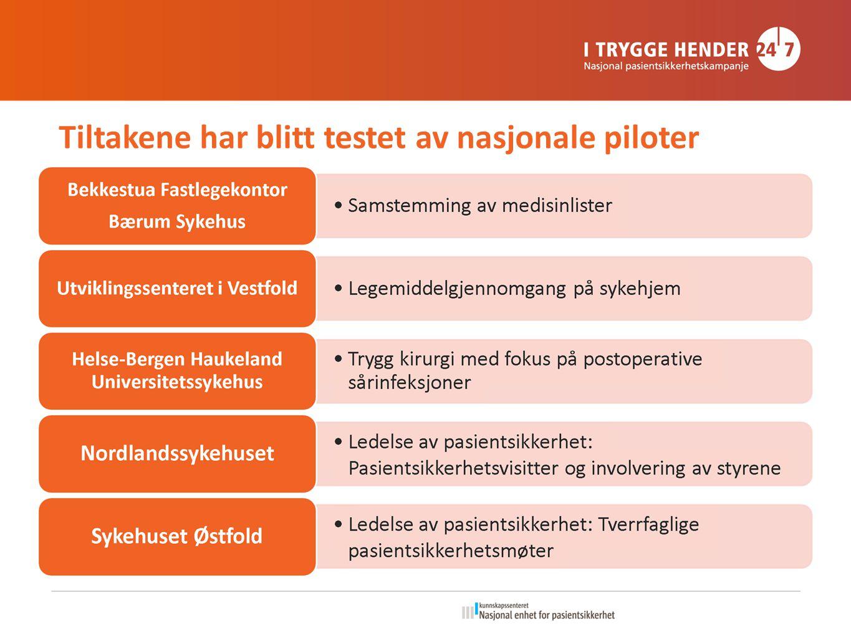 Tiltakene har blitt testet av nasjonale piloter