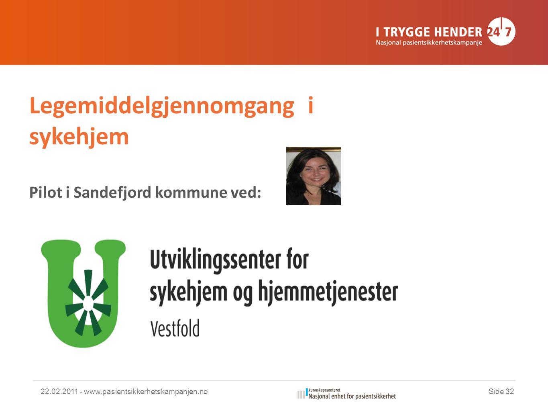 22.02.2011 - www.pasientsikkerhetskampanjen.noSide 32 Legemiddelgjennomgang i sykehjem Pilot i Sandefjord kommune ved: