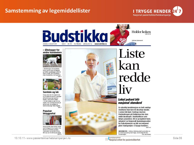 10.10.11 - www.pasientsikkerhetskampanjen.noSide 35 Samstemming av legemiddellister