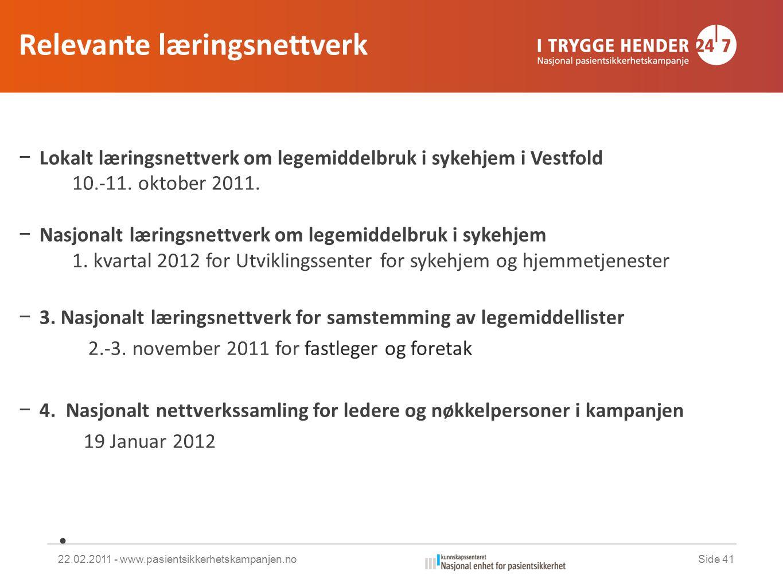 Relevante læringsnettverk − Lokalt læringsnettverk om legemiddelbruk i sykehjem i Vestfold 10.-11.