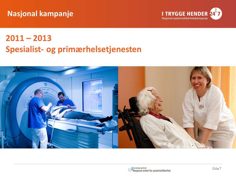 2011 – 2013 Spesialist- og primærhelsetjenesten Side 7 Nasjonal kampanje