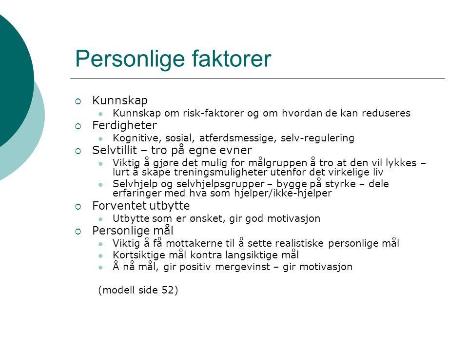 Personlige faktorer  Kunnskap  Kunnskap om risk-faktorer og om hvordan de kan reduseres  Ferdigheter  Kognitive, sosial, atferdsmessige, selv-regu