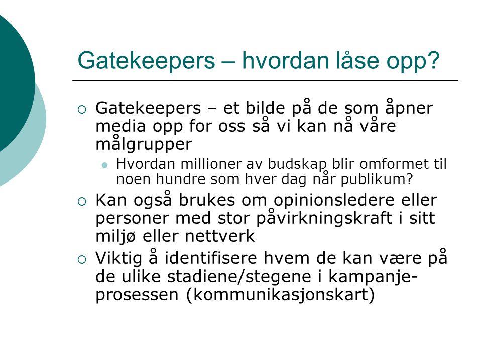 Gatekeepers – hvordan låse opp?  Gatekeepers – et bilde på de som åpner media opp for oss så vi kan nå våre målgrupper  Hvordan millioner av budskap