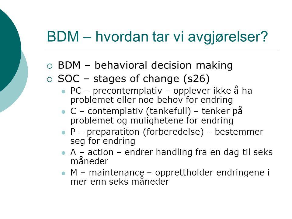 BDM – hvordan tar vi avgjørelser?  BDM – behavioral decision making  SOC – stages of change (s26)  PC – precontemplativ – opplever ikke å ha proble