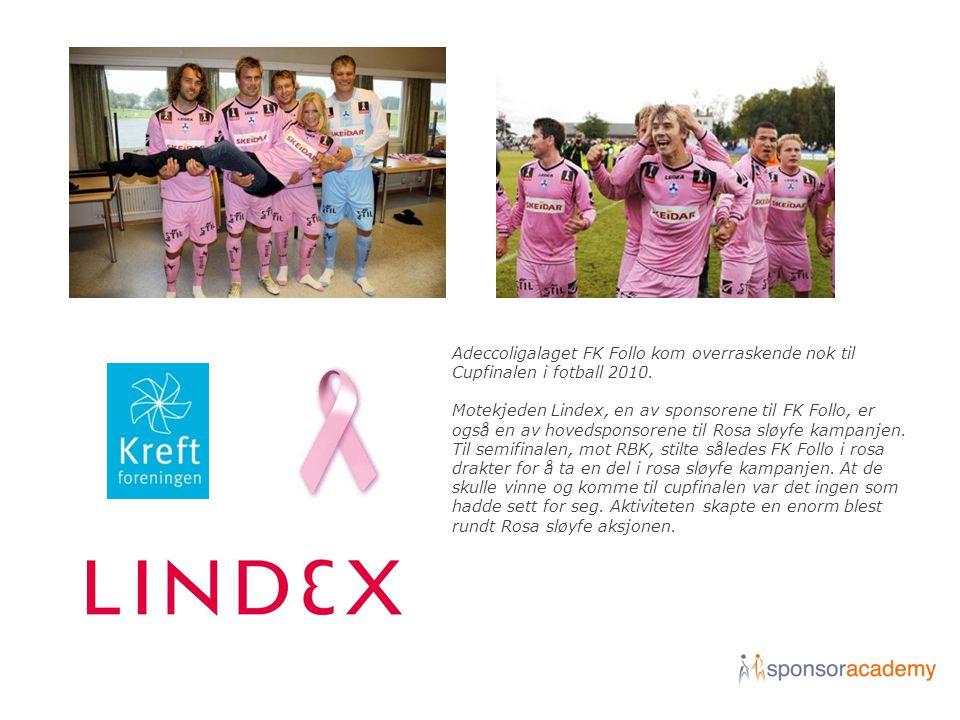 Adeccoligalaget FK Follo kom overraskende nok til Cupfinalen i fotball 2010. Motekjeden Lindex, en av sponsorene til FK Follo, er også en av hovedspon