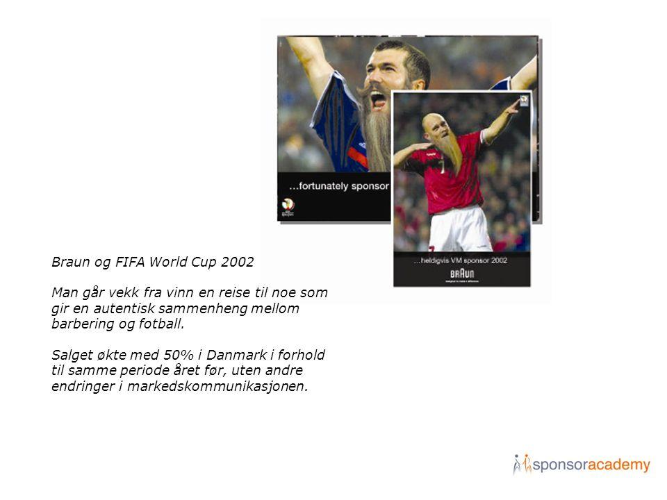 Braun og FIFA World Cup 2002 Man går vekk fra vinn en reise til noe som gir en autentisk sammenheng mellom barbering og fotball. Salget økte med 50% i