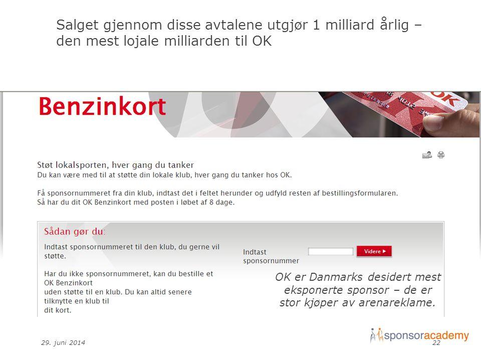 29. juni 201422 Salget gjennom disse avtalene utgjør 1 milliard årlig – den mest lojale milliarden til OK OK er Danmarks desidert mest eksponerte spon