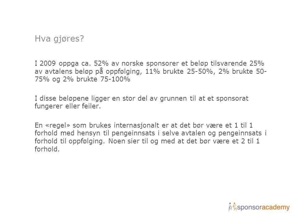Hva gjøres? I 2009 oppga ca. 52% av norske sponsorer et beløp tilsvarende 25% av avtalens beløp på oppfølging, 11% brukte 25-50%, 2% brukte 50- 75% og