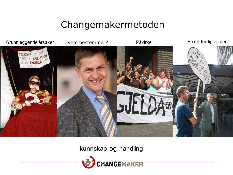 Changemakermetoden kunnskap og handling Grunnleggende årsaker Hvem bestemmer? Påvirke En rettferdig verden!