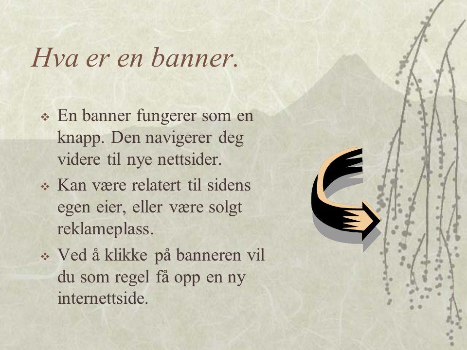 """Oppgaven går ut på:  Finn informasjon om """"banners"""" på internett.  Identifiser fordeler og temaer relatert til reklamerende """"banners"""".  Lag en rappo"""