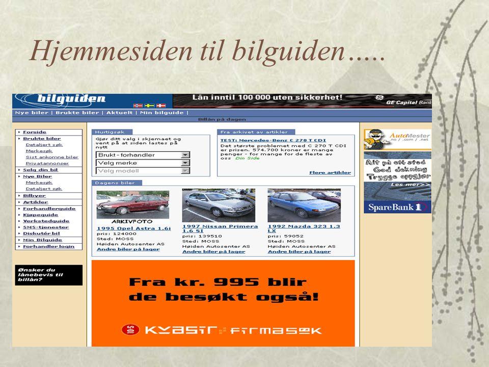 Hjemmesiden til bilguiden…..