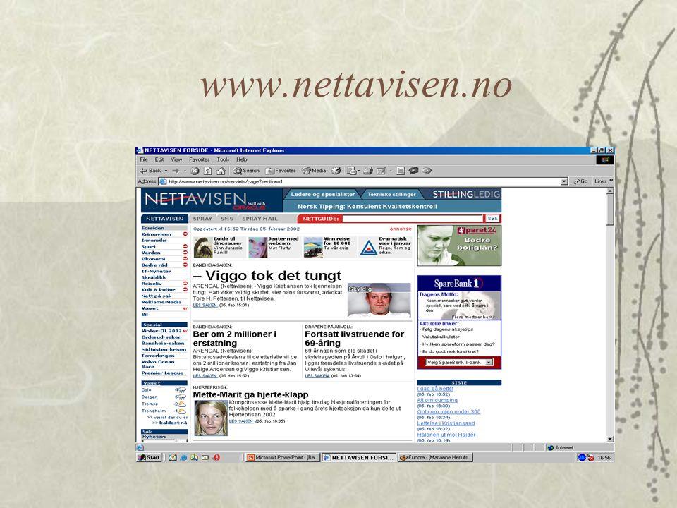 """Eksempel på bruk av """"bannere"""".  Vi velger å se på nettavisens sider.  Vi kan oppservere at banners er brukt både for å markedsføre nettavisens sider"""