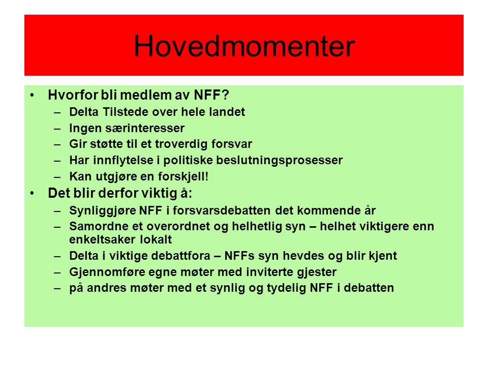 Hovedmomenter •Hvorfor bli medlem av NFF.