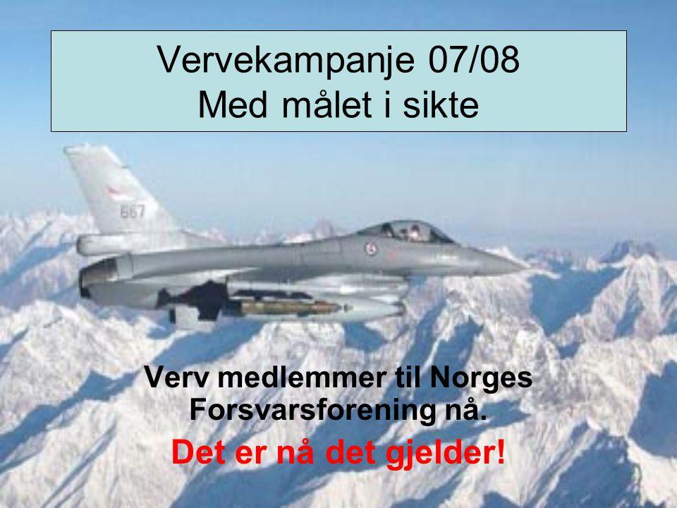 Vervekampanje 07/08 Med målet i sikte Verv medlemmer til Norges Forsvarsforening nå.