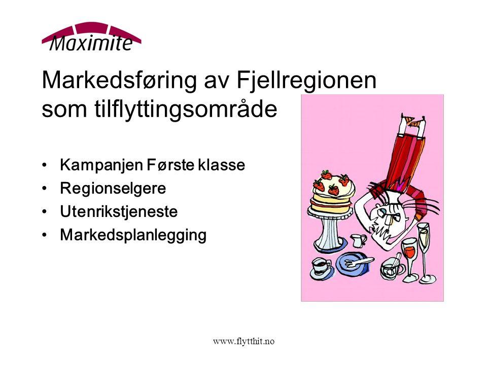 www.flytthit.no Markedsføring av Fjellregionen som tilflyttingsområde •Kampanjen Første klasse •Regionselgere •Utenrikstjeneste •Markedsplanlegging